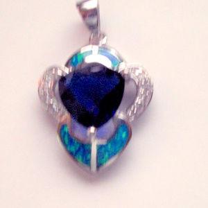 Sterling Silver Sapphire + Australian Opal pendant